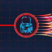 An image of a lock followed by colorful tendrils.