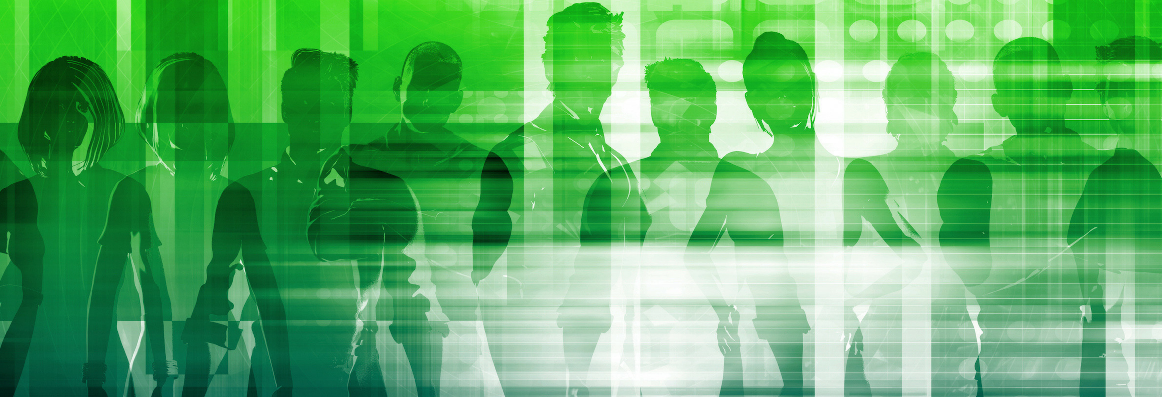 People standing side by side with a green colored overlay.