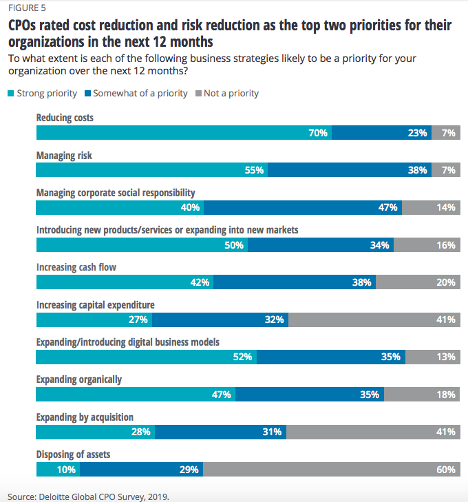 CPOs rated cost reduction and risk reduction as top two priorities