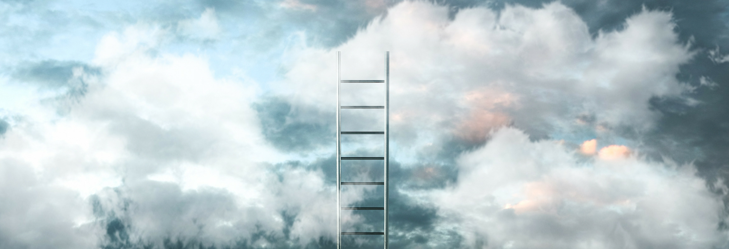 An image of a ladder in the clouds.