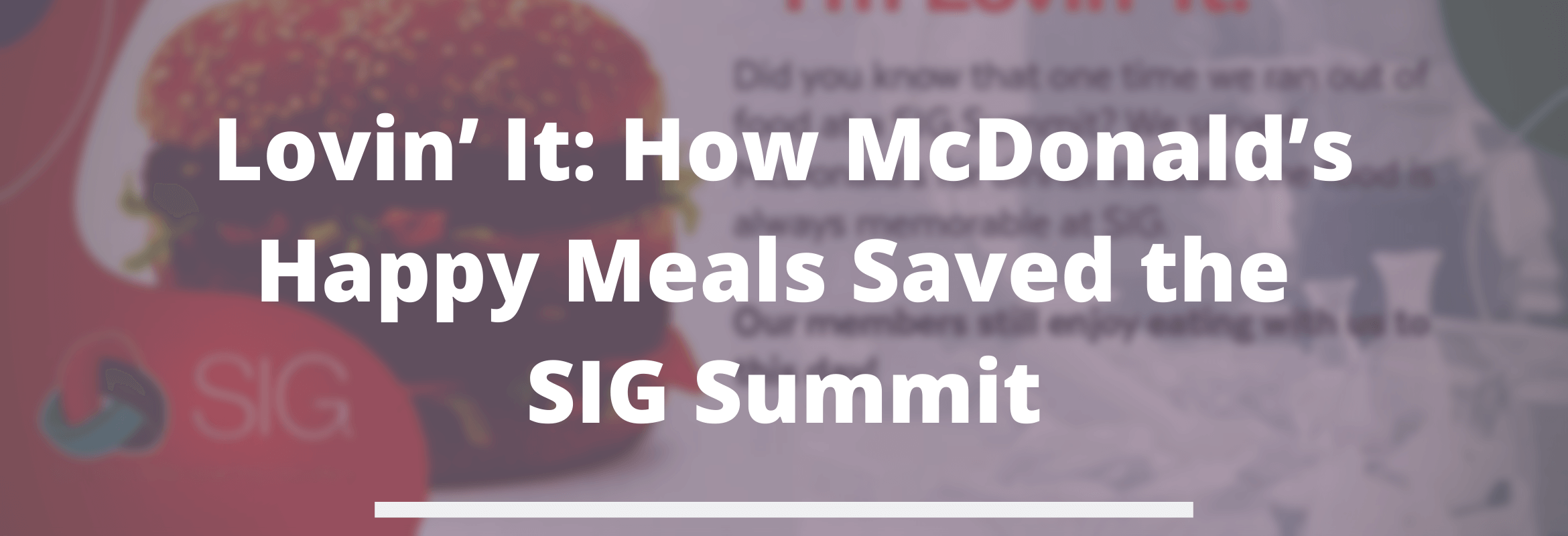 McDonald's at the SIG Summit