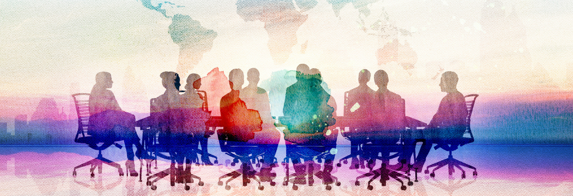 An image of people around a conference table with watercolor overlay.