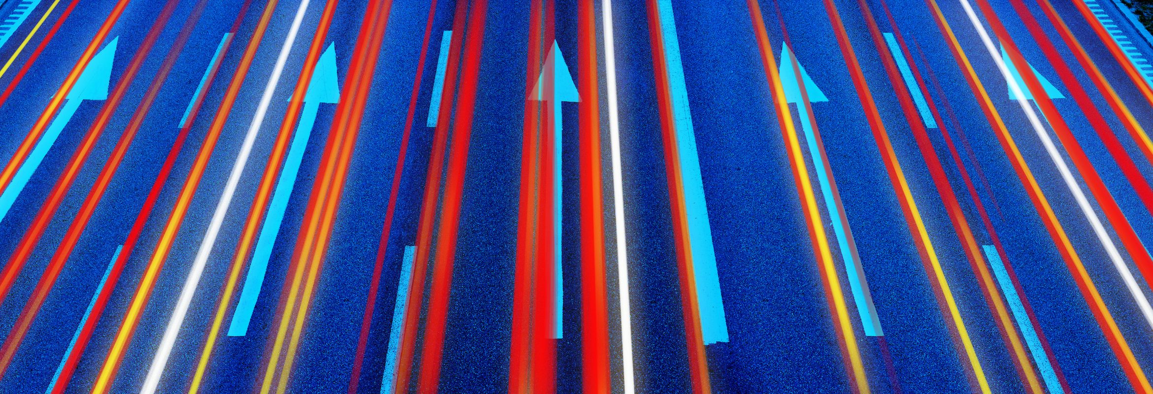 Colorful arrows on a blue background.